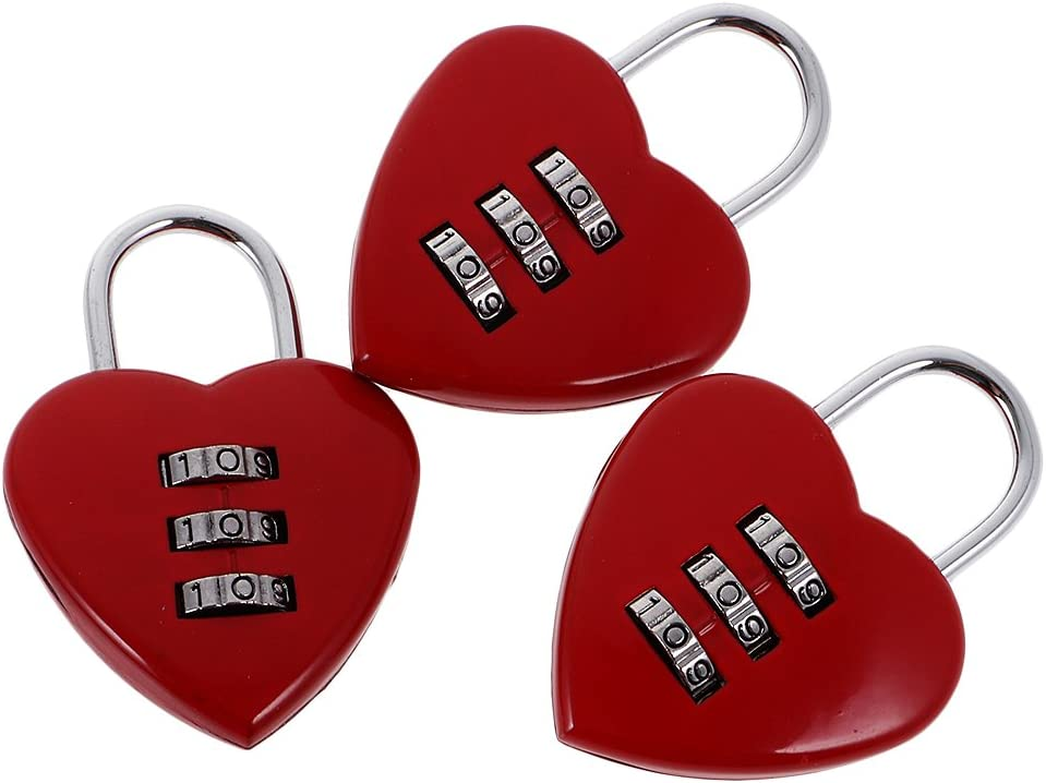 Homyl 3pcs Verrou de S/écurit/é Cadenas /à Code 3 Chiffres Coeur Cadran Combinaison pour Valise Bagage de Voyage