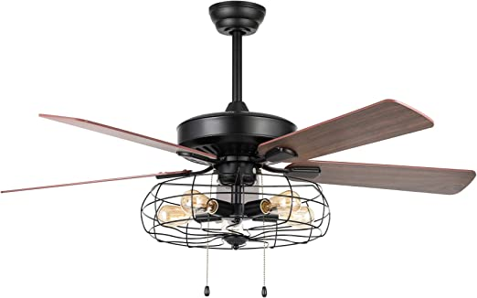 Amazon Com Co Z 52 Industrial Ceiling Fan With Light Black 5 Light Farmhouse Ceiling Fan With Lights With Iron Cage Rustic Fan Light Lixture With 5 Cherry And Walnut Plywood Blades Lighted Ceiling Fan