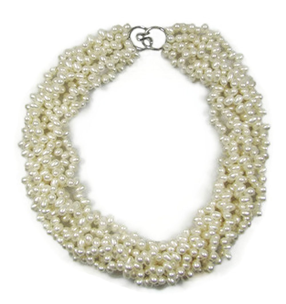 Fresh Water Cultured Pearl Torsade/ Twist Necklace, 7 rows, 18'', Sterling Silver Clasp