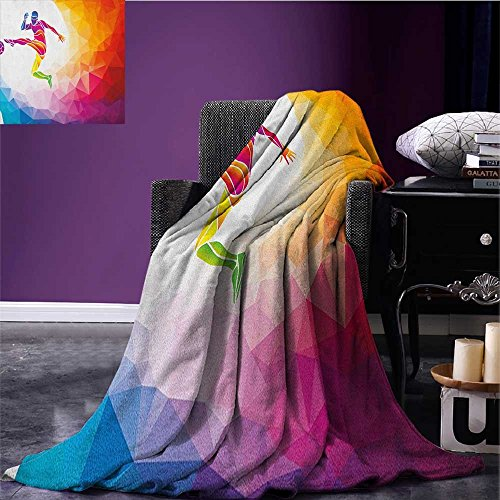 Teen Room survival blanket Fractal Soccer Player Hitting the Ball Polygonal Abstract Artful Illustration space blanket Multicolor size:51''x31.5'' by zojihome