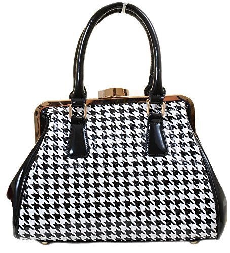 Blk Patent Leather Bag (Houndstooth Vegan Patent Crossbody Shoulder Tote Bag Purse (Black))