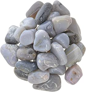 """Hypnotic Gems Materials: 1 lb Grey Agate Tumbled Stones - Grade 1 - Medium - 1"""" to 1.5"""" Avg. - Bulk Natural Rocks Polished Gemstone Supplies for Wicca, Reiki, Energy Crystal Healing"""