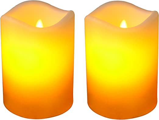 Set of 2 Flickering Candle Tealights Battery Operated LED Flameless Candle