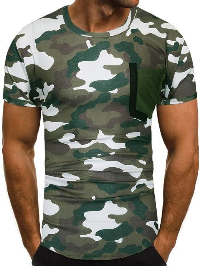 Uomo Camicia Camicia da Polo Slim Fit Chic Camouflage Polo Estate Vintage Casual Fashion T-Shirt Camicette Top