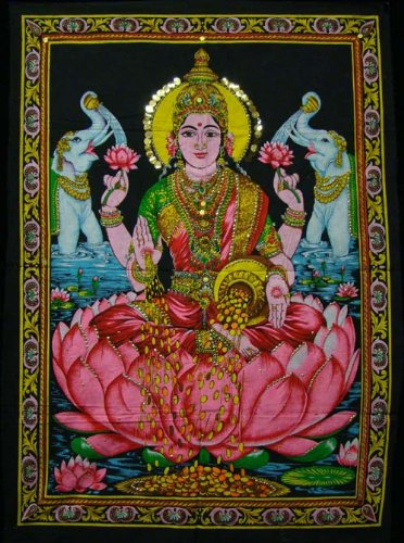 cotton-fabric-goddess-laxmi-lakshmi-30-x-43-tapestry-india