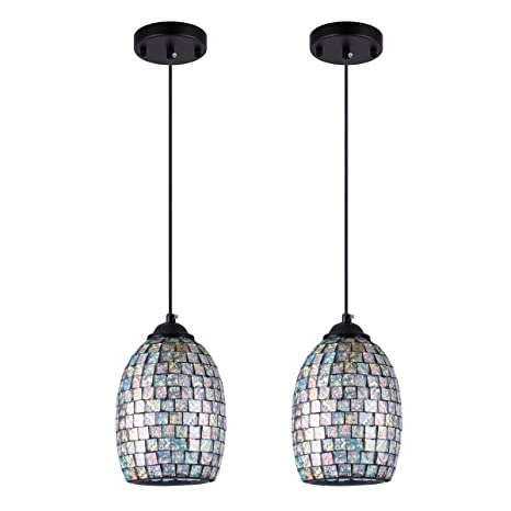 Shengyadi Modern Mini Pendant Light With Hand Crafted Mosaic Shape Stained Glass Pendant Lighting For Kitchen Island Dining Room Restaurant Bar Cafe