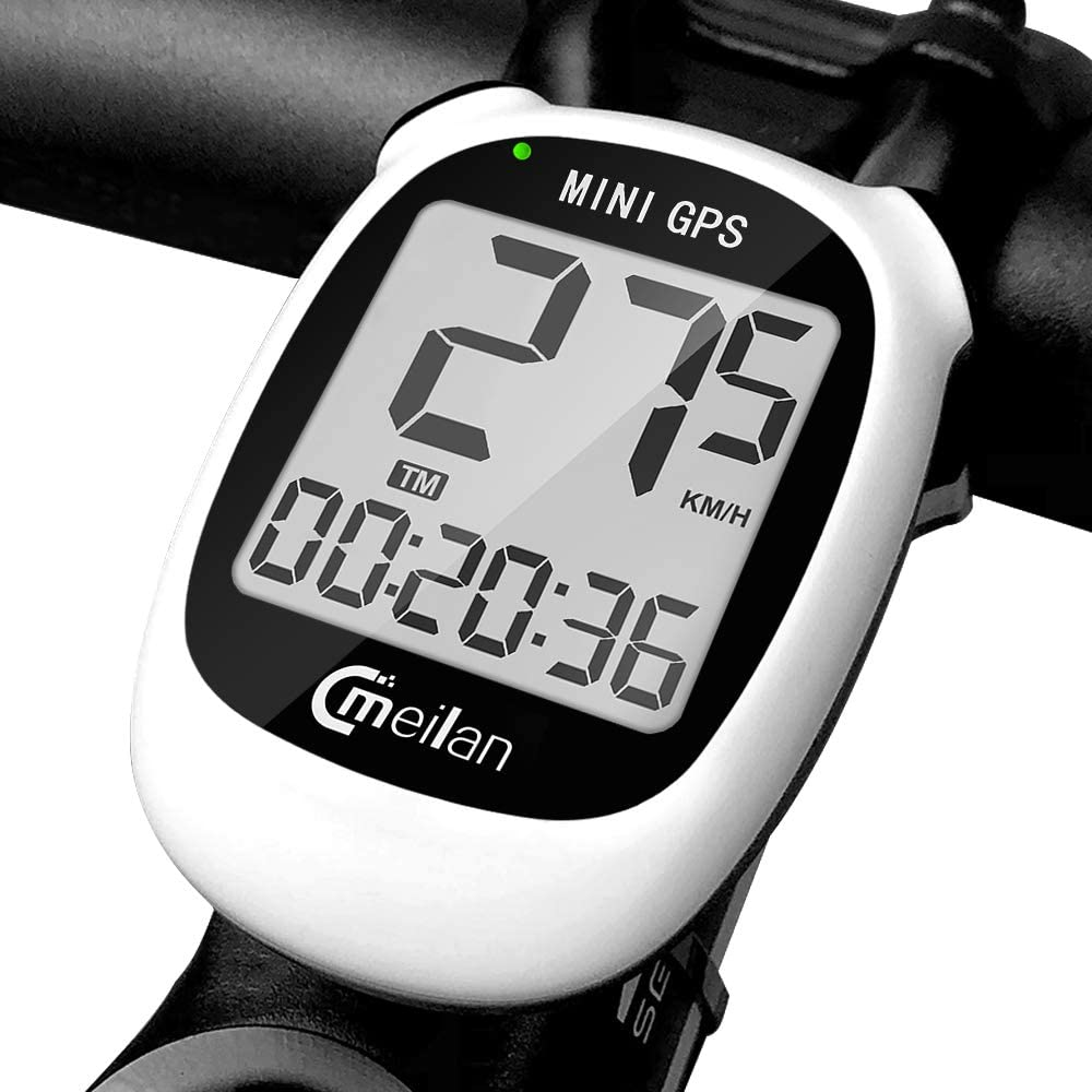 MEILAN M3 Mini GPS Bike Computer, Wireless Bike Odometer and Speedometer Bicycle Computer IPX6 Waterproof Cycling Computer with LCD Display for Outdoor Men Women Teens Bikers (White)
