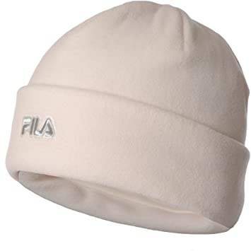 f7a8ca127c0 FILA Mens Womens Thermal Fleece Winter Warm Turn Up Beanie Hat - White - M   Amazon.co.uk  Sports   Outdoors