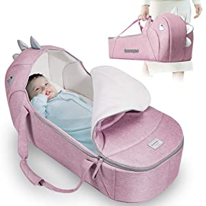 SUNVENO Baby Bed & Baby Lounger, Moses Basket Bassinet Bedside Sleeper Newborn Infant Travel Bed Carrycot for 0-12 Months (Pink)