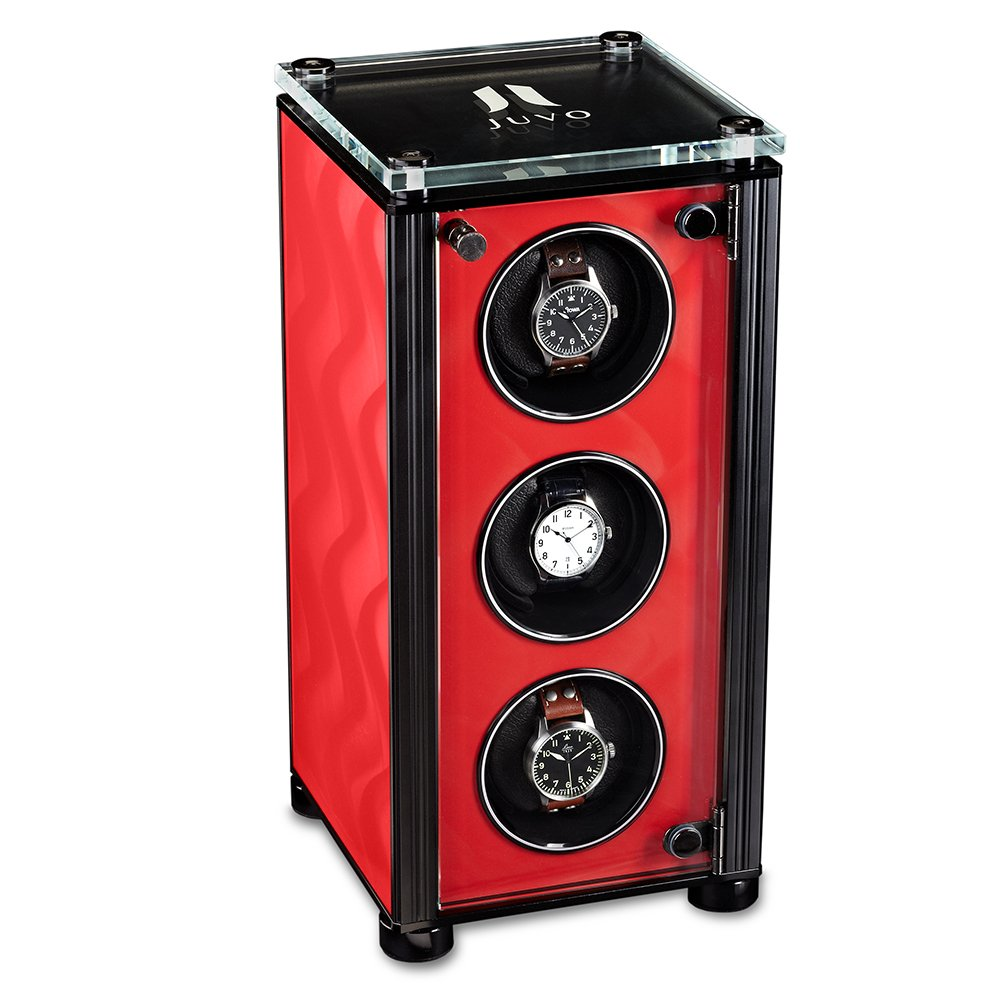 Triple Automatic Watch Winder For Men's Automatic Watches, JUVO M3 Red With Black Trim