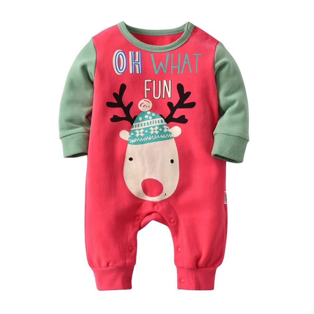 Yying Pagliaccetto del bambino di Natale Neonato Boy Girl Boy manica lunga Tuta Un pezzo di Natale regalo vestiti caldi