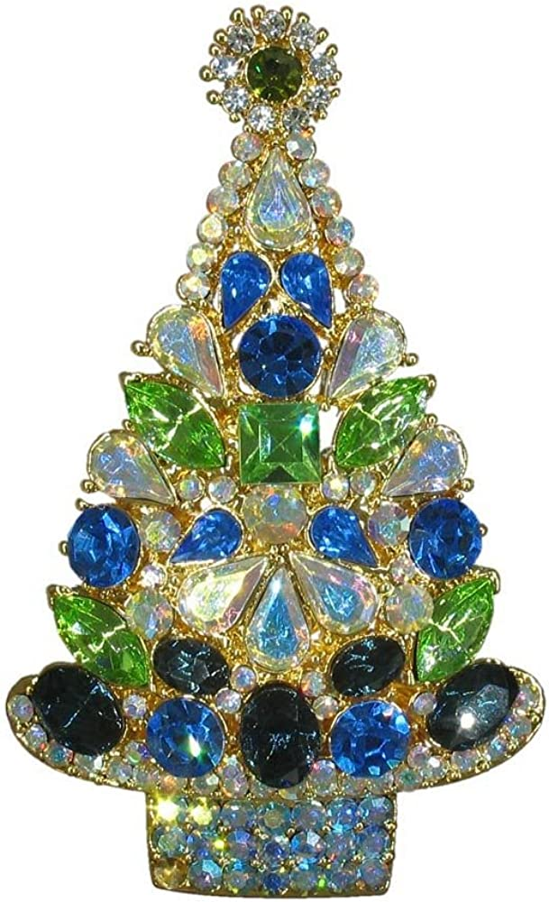 Stunning Christmas Tree Vintage Inspired Holiday Bling Emerald Green Crystal Gift Brooch NEW pin HandCrafted P3245