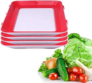 Fresh Food Containers Tray, Reusable Food Storage Container Creative Stackable Food Preservation Tray Vacuum Preservation Tray with Elastic Lid, for Vegetable Fruit Meat Fish (4 PCS)