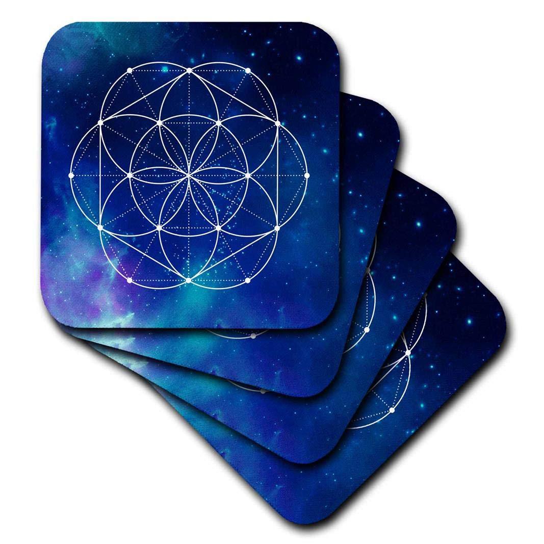 3dローズAnne Marie Baugh – Sacred Geometry – Sacred Circles BrilliantブルーGalaxyで花のジオメトリバックグラウンド – コースター set-of-8-Soft ブルー cst_254916_2 set-of-8-Soft  B071GB4G1T
