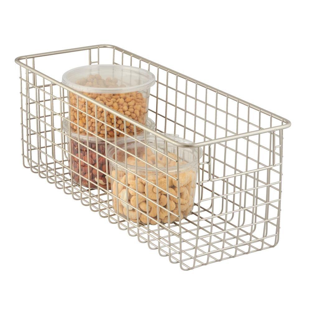 mDesign Cajas de almacenaje multiuso ba/ño oficina o garaje Caja organizadora multiprop/ósito con asas para transporte Color: satinado Cesta de almacenaje compacta para cocina