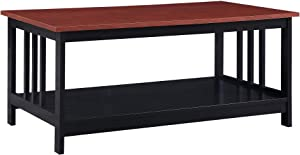 Convenience Concepts Mission Coffee Table, Cherry / Black