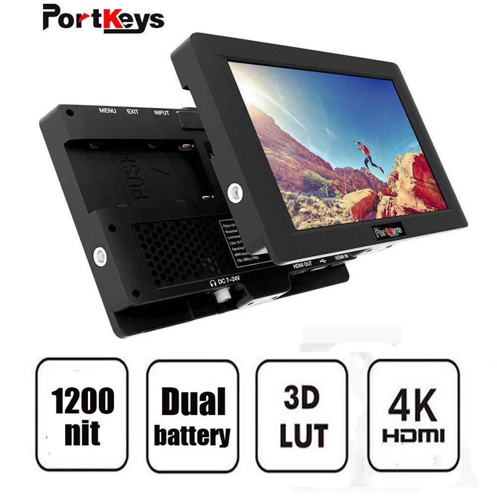 PortKeys HH7 7 Inch 1920x1200 On Camera Field Monitor 1200 Nit with HLG/3D  LUT,4K HDMI In/Out Put,Support Wireless Claymore,Dual Swappable Battery