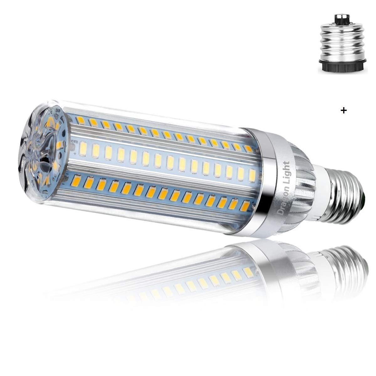 25W Super Bright Corn LED Light Bulb(250 Watt Equivalent) - 3000K Warm White 2900Lumens - E26 with E39 Mogul Base Adapter for Large Area Commercial Ceiling Light - Garage Warehouse Porch Backyard by DragonLight