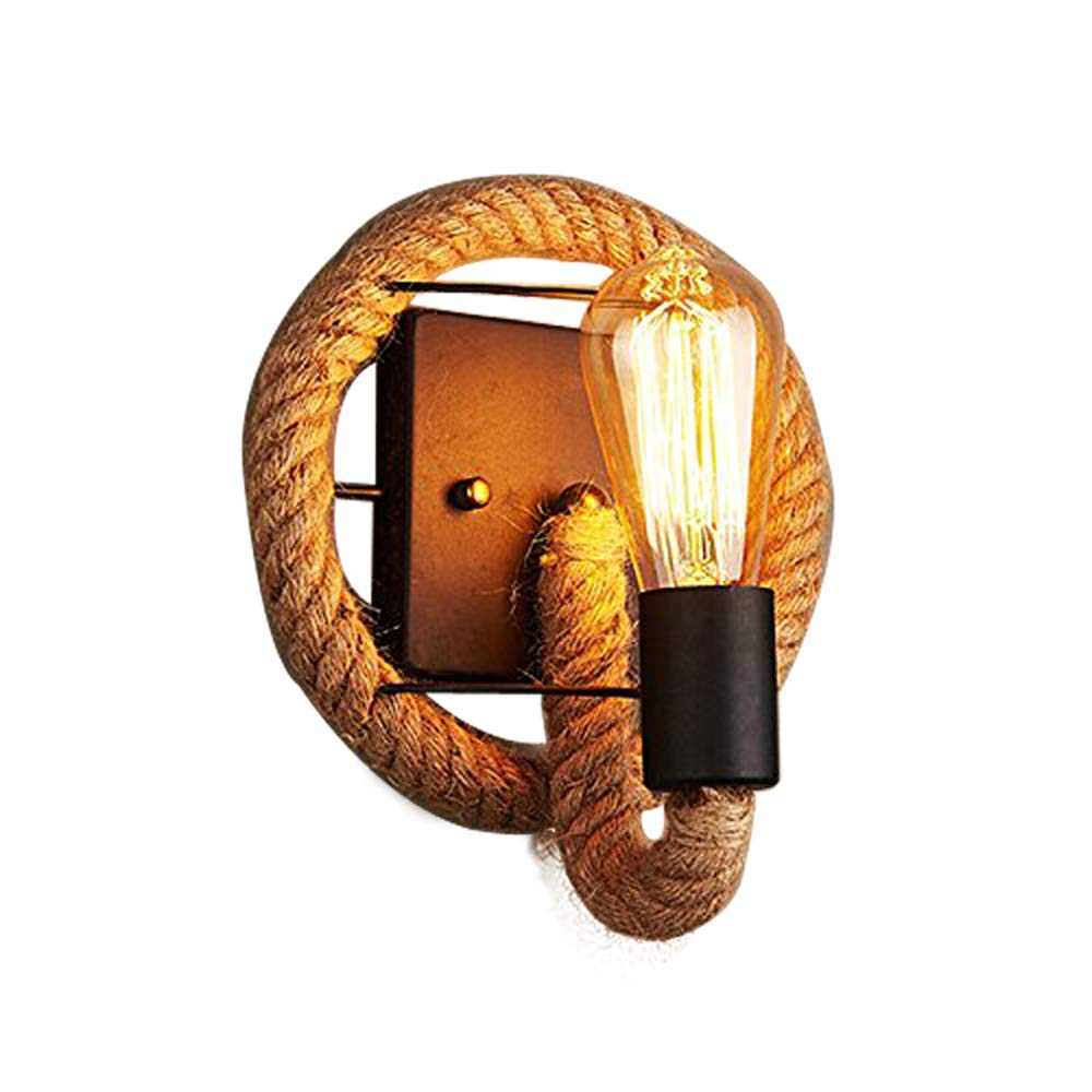 JINGUO Lighting Hemp Rope 1-Light Wall Lamp Wall Sconce in Industrial Light Fixture Country Style for Restaurant Bar Kitchen Home Decor Cafe Use E26 Light Bulb