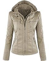 Pop lover Women's Hooded Faux Leather Motorcyle Jacket Detachable Full Zipper Outerwear