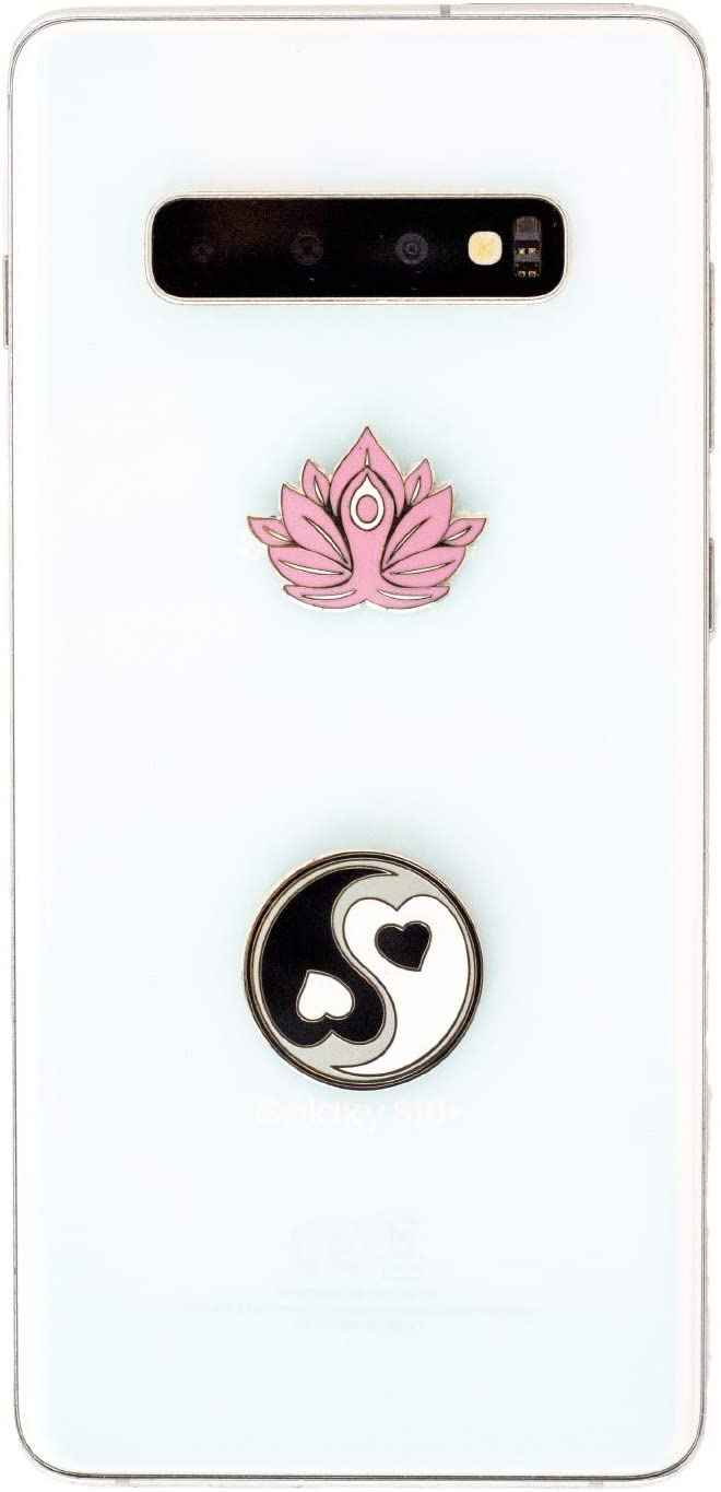 "2 in 1 Yin Yang & Lotus Yoga Harmony & Peace Metal Stickers- Usable On All Phones, Laptops & Notebooks- Spiritual Charms- Show Balance and Tranquility- Easy to Stick on and Peel Off- 1"" x 1"" Namaste"
