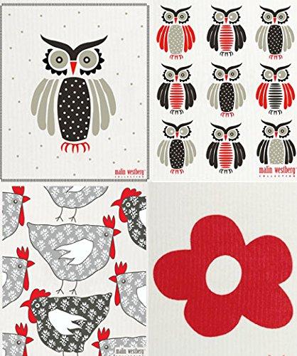 Trendy Tripper Swedish Dishcloth, Set of 4 Grey & Black Owls & Rooster Designs (OW)