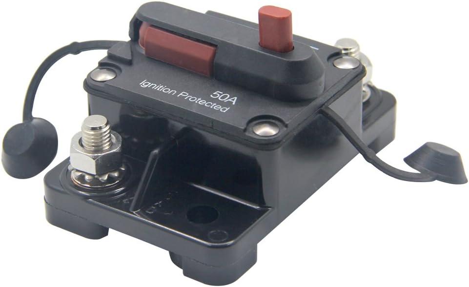 RKURCK 12V-48V DC 30 Amps Waterproof Circuit Breaker with Manual Reset for Marine Trolling Motors Boat ATV 30A