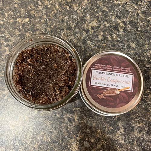 Vanilla Cappuccino, Body Scrub, 4 oz, Sugar Scrub, Sample Size, Coffee Scrub, Gifts for Her, Lip Scrub, 4 ounce, Exfoliating, Spa Gift ()