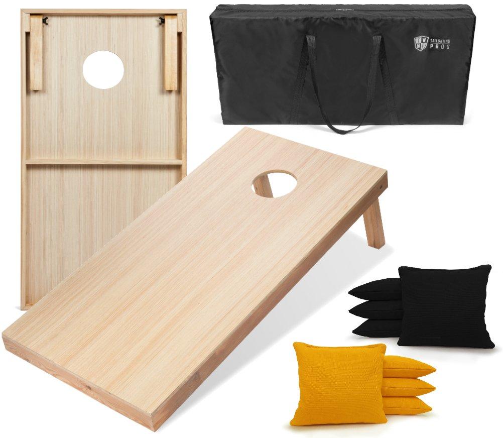 Tailgating Pros 4'x2' WoodGrain Finish Cornhole Boards w/Carrying Case & set of 8 Cornhole Bags (YOU PICK COLOR) 25 Bag Colors! (Black/Yellow)