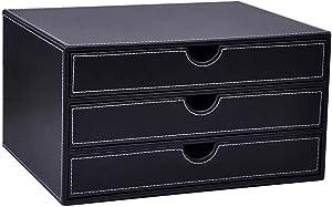 UnionBasic Multi-Functional PU Leather Wooden Desk Organizer File Cabinet Office Supplies Desktop Storage Organizer Box with Drawer (Plain Black (3-Drawer))