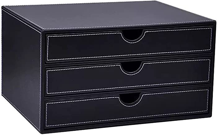 UnionBasic Multi-Functional PU Leather Wooden Desk Organizer File Cabinet Office Supplies Desktop Storage Organizer Box with Drawer (Plain Black (3-Drawer))