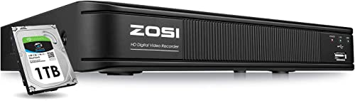 ZOSI 720p 8 Channel HD-TVI 1080P Lite Video Surveillance DVR Recorders with Hard Drive 1TB, P2P Technology, QR Code Scan Remote Access,Motion Detection,Hybrid Capability 4-in-1 Analog AHD TVI CVI