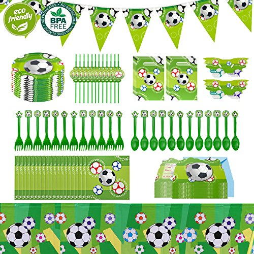 Cieovo Soccer Party Supplies Sports Themed Pack, Comes with Disposable Tableware and Birthday Party Decoration Set 12 Guests, All-In-One Value Kit, Perfect for Kids. Includes 10 Varieties 106 Pieces