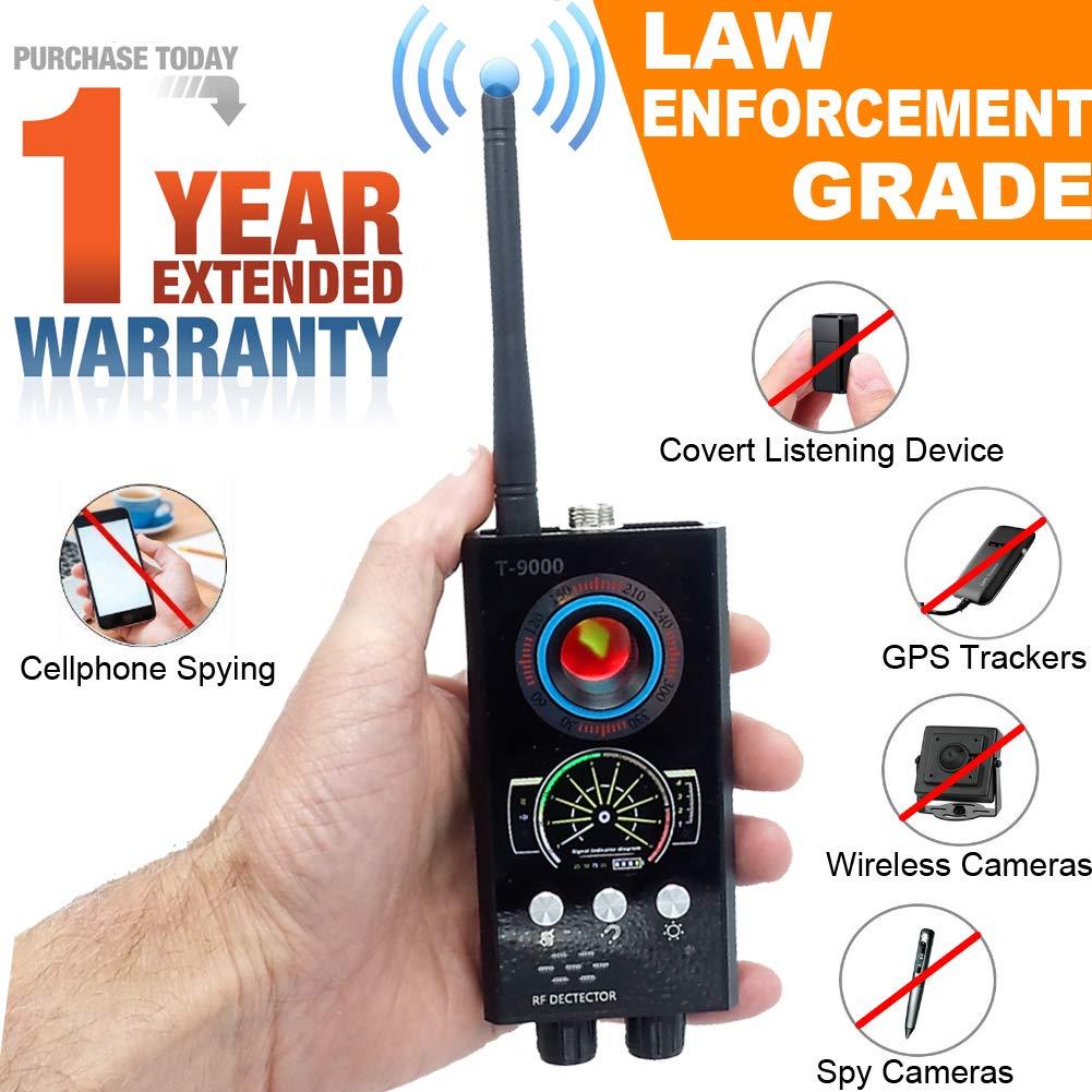 Bug Detector, RF, GPS Anti-Spy Wireless Detector, Hidden Camera Pinhole Laser Lens GSM Device Finder, Full-Range Portable Detector Eavesdropping, Video, GPS Tracker, Counter Surveillance, Law Grade