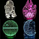 LED 3D Lamp Illusion Star wars Night Light ,star wars decor,four Pattern and 7 Color Change Decor Lamp - Perfect Gifts for Kids CHILDREN Men Women Teens,and Star Wars Fans,Bedroom Decoration lights