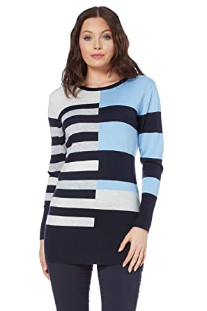 aeb7511834a Roman Originals Women Colour Block Jumper - Ladies Long Sleeve Tunic  Knitted Knitwear Autumn Christmas Winter Top