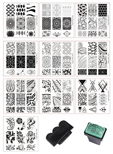 Beauty Leader 10 Pcs Nail Art Stamping Plate Mix Design Nail Art Template + 1 Pcs Green Rubber Stamper Nail Art Image Stamp Stamping Plates Manicure Template Nail Art Tools ()