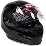 Motorcycle Full Face Helmet DOT Street Legal DOUBLE VISOR Comes with Clear Flip Up Shield and Retractable Inner Smoked Shield – Glossy Black (Medium) 118_DV