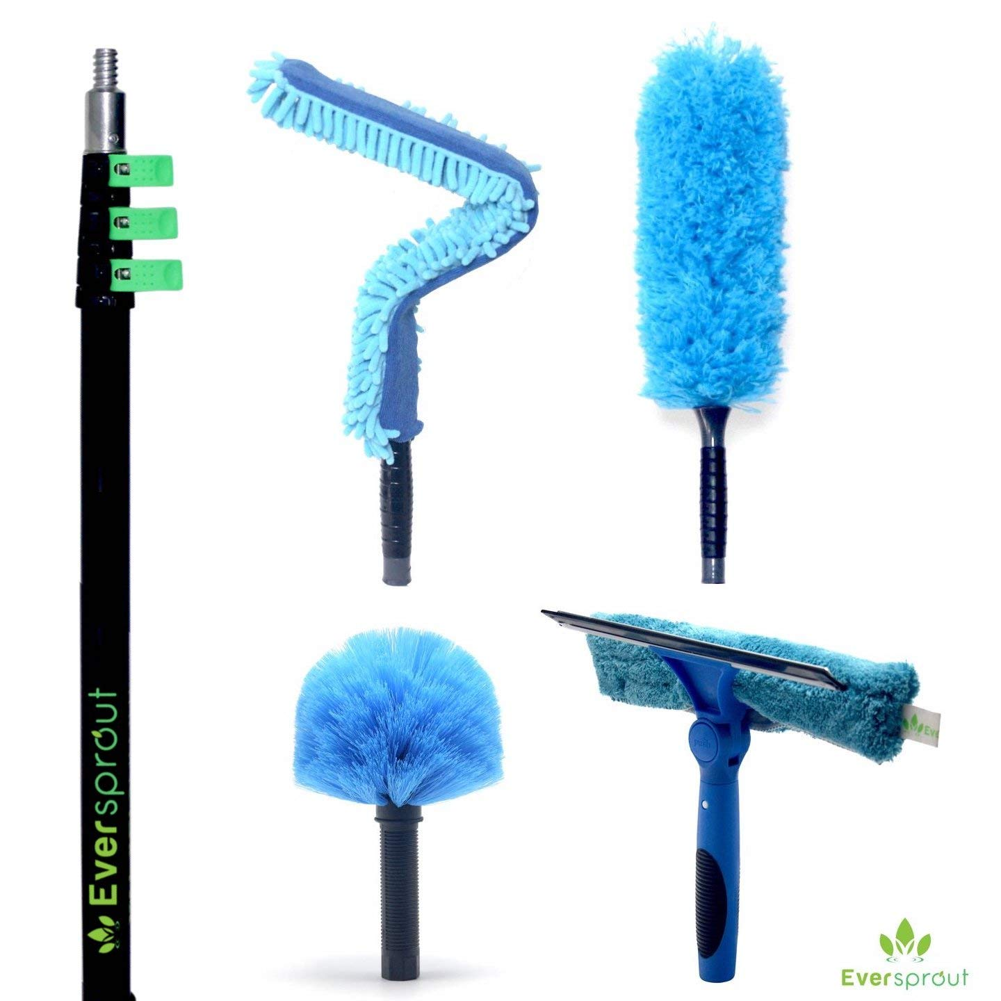 EVERSPROUT 4-Pack Duster Squeegee Kit with Extension-Pole (30+ Foot Reach) | Swivel Squeegee, Hand-Packaged Cobweb Duster, Microfiber Feather Duster, Flexible Ceiling Fan Duster, 24 ft Telescopic Pole by EVERSPROUT (Image #2)