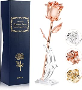 Rose Gold Dipped Real Roses Flower, Eternity Natural Shape Gold Rose Romantic Gifts for Her on Wedding Anniversary Birthday Thanksgiving Valentines Engagement, Rose Gold Plated with Rose Stand