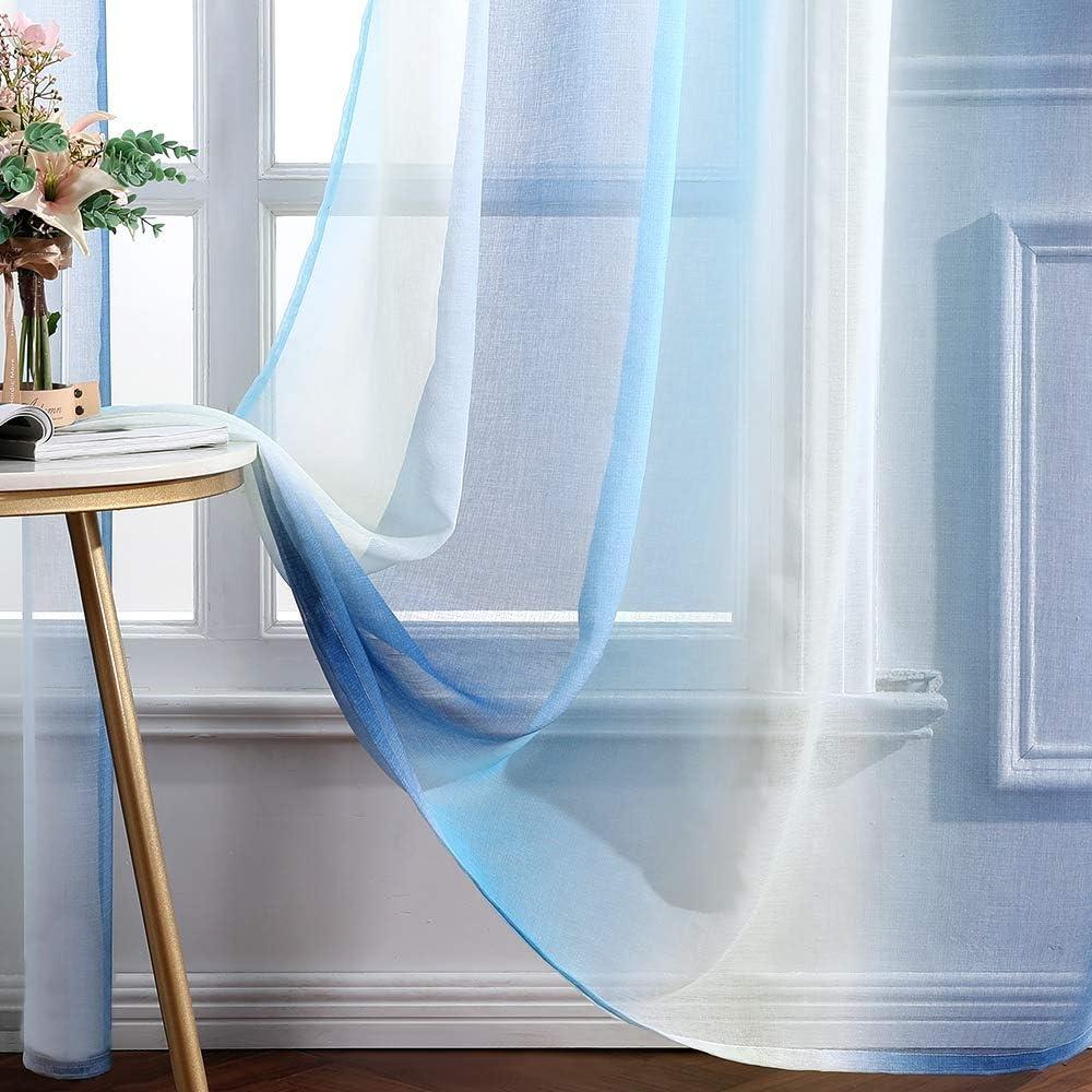 Beige MIULEE Cortina Transl/úcida Visillo Gradiente Color Degradado Dos Paneles de Ojales Plateados Gasa para Ventanas Habitacion Dormitorio Cocina Sala de Estar 140x145cm Gradiente Lateral Azul