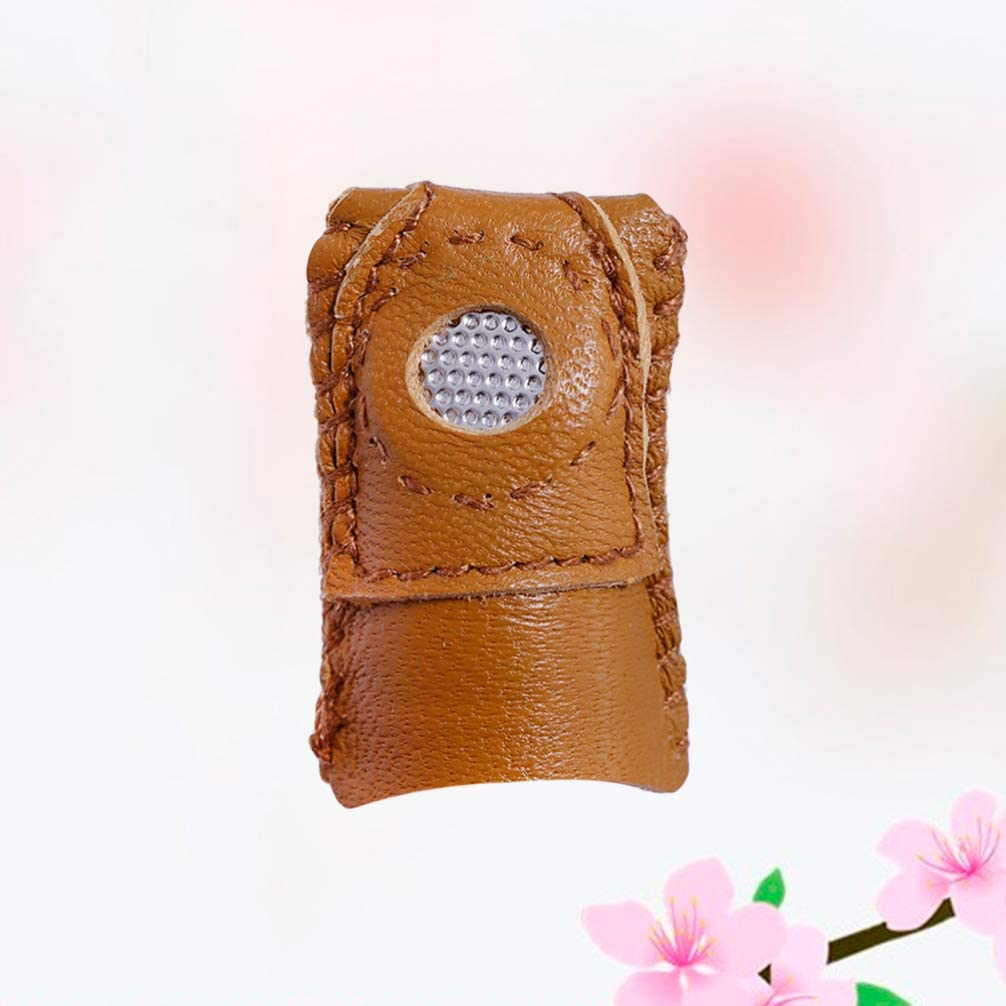 SUPVOX Leather Coin Thimbles Finger Protector Thimble Covers Pin Needle Shields for DIY Craft Accessories Making Needlework
