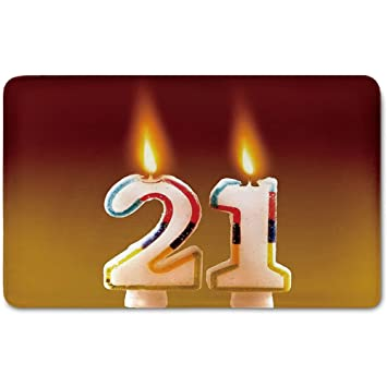 Memory Foam Bath Mat21st Birthday DecorationsRainbow Colored Candles On Party Cake Abstract