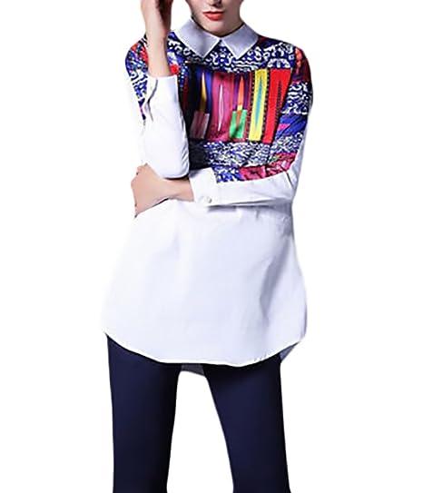 Camisetas Mujer Elegantes Fashion Primavera Otoño Blanco Moda Fashionista Camisa Manga Larga De Solapa Estampado Camisas Medium Largos Casual Street Style ...