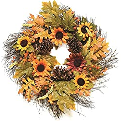 "Northlight 24"" Autumn Harvest Decorative Artificial Fall Leaves, Berries, Pinecones & Sunflowers Wreath - Unlit"