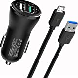 Quick charge 3.0 Car Charger Dual USB Port for HTC One X10, One A9, One M9/M9Plus/M8/M7,HTC Desire, Blackberry Priv, Amazon Kindle Fire 7, Fire HD8 HD10 Tablet, 5FTMicro USB Cable