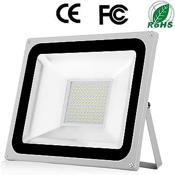 100W Foco Exterior LED IP65 Impermeable 10000LM 6500K Blanco Frío Super Brillante Luz de seguridad LED Foco Exteriores para Almacén Jardín Garaje Patio Campo Para Patio de recreo Césped: Amazon.es: Iluminación