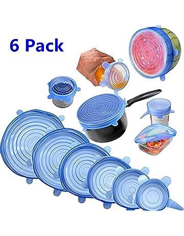 Tapas de silicona elásticas, Tapadera flexible extensible, reutilizable para proteger los alimentos, ajustables