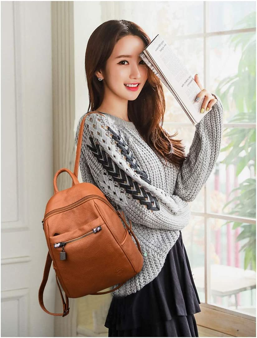 Simple Large Capacity 2019 New Black//Brown//Red PU Leather Hengtongtongxun Girls Multi-Purpose Backpack for Daily Travel//Travel//School//Work//Fashion//Leisure