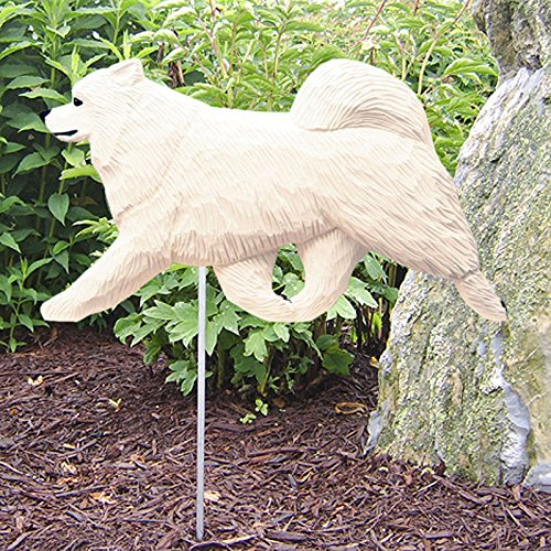 Cheap Michael Park Woodcarver Samoyed Outdoor Garden Dog Sign Hand Painted Figure